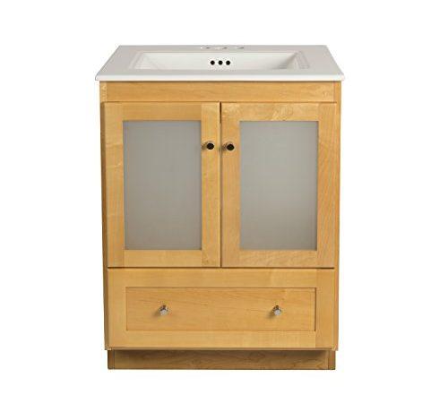 Ronbow shaker 24 inch bathroom vanity set in maple wood - Bathroom vanity with frosted glass doors ...